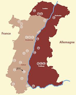 carte du réseau transfrontalier d'éducation à l'environnement